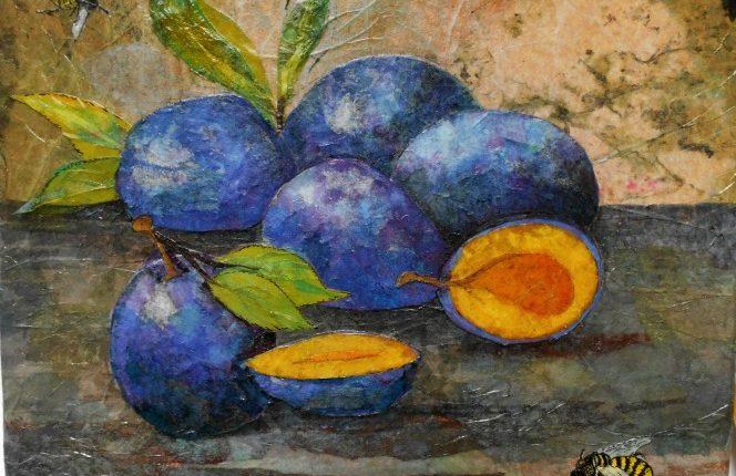 Nancy Yergin paper collage plums